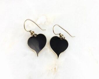 Vintage Laurel Burch Enamel Heart Earrings