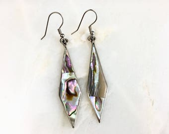 Vintage Mexico Alpaca Abalone Earrings