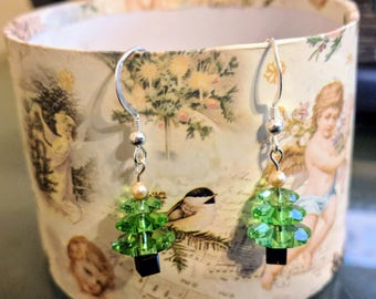 Swarovski Crystal and Pearl Christmas Holiday Tree Earrings with Sterling silver ear wire
