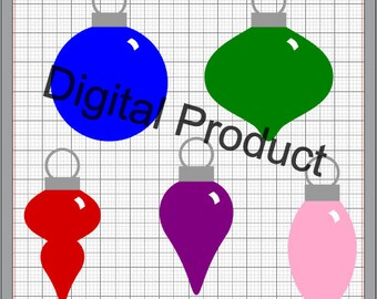 Holiday Ornaments SVG, (dxf, eps, pdf, png, svg, studio3 file types) Tree Ornament Die Cut Files, Silhouette Cameo, Cricut, Instant Download