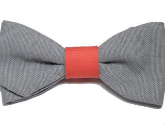 Bow tie gray Putty and coral with sharp edges