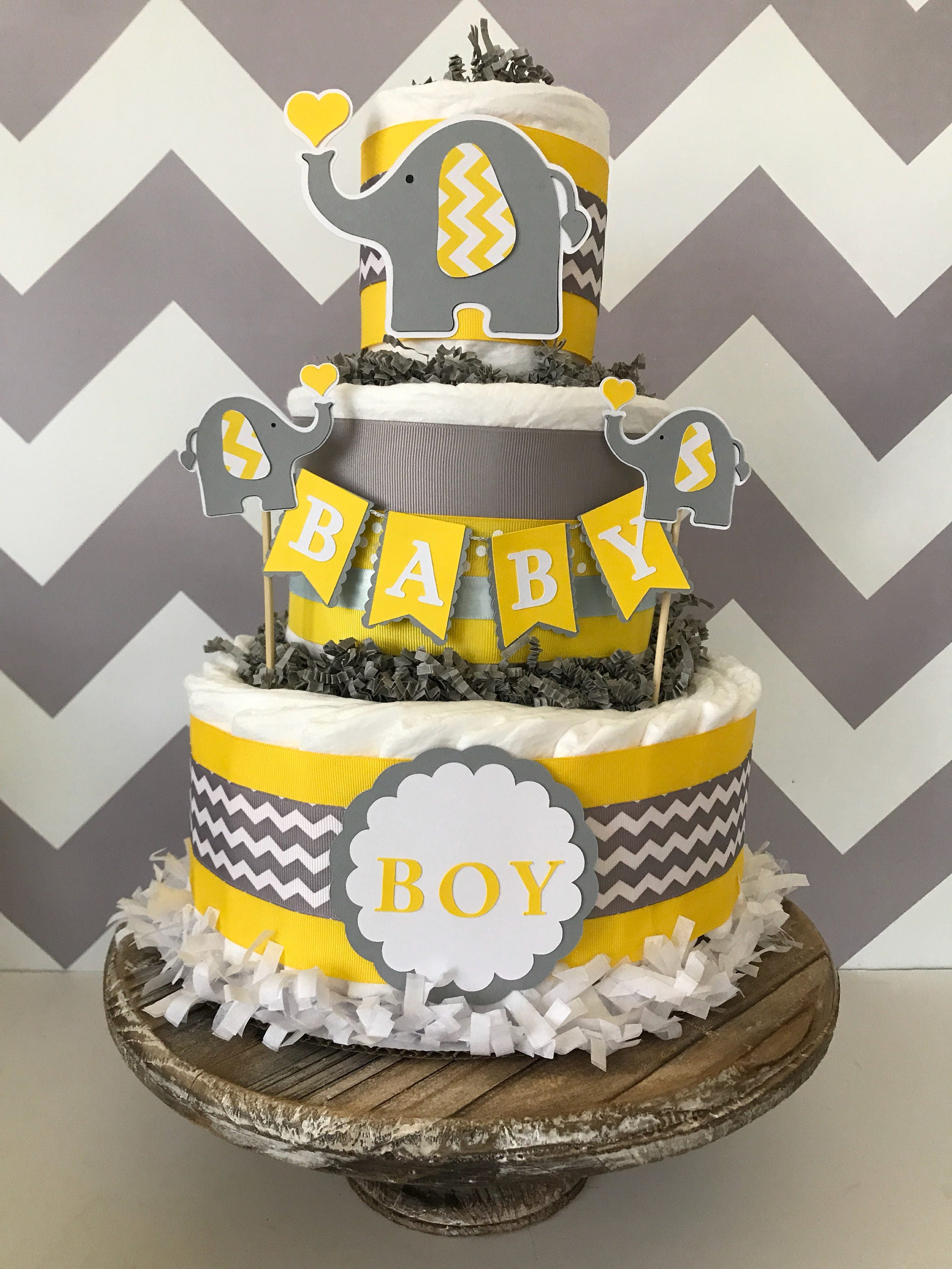 Elephant diaper cake in yellow gray and white