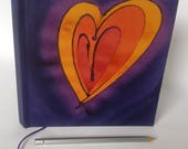 hand bound hard cover hand painted journal heart purple square