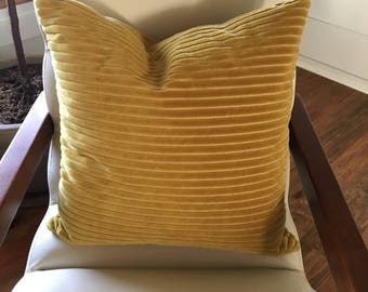 Golden Yellow Corduroy Throw Pillow
