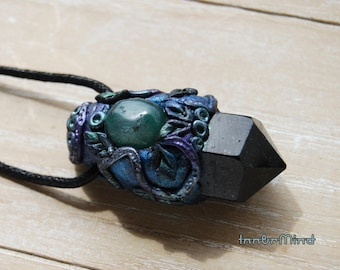 Black Tourmaline Point with blue Agate Clay Protection Pendant Necklace on Hemp Cord UNISEX