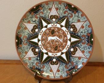 Greek Clay and Enamel Decretive Plate by Bonis Pottery from Rhodes Greece
