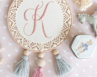 Embroidery hoop, hand embroidered name, hoop art, nursery, gift, baby shower, birthday, baptism,wedding. Original wall decoration.