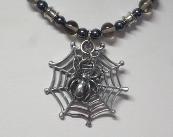 Spider in web necklace with Smoky Quartz and Hematite beads  CCS187