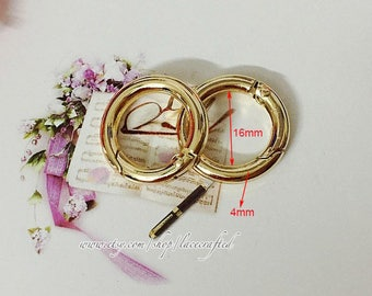 10 pcs 1.6cm(inner diameter) Light Golden Silvery round spring gate ring spring ring clasp snap ring screw spring ring