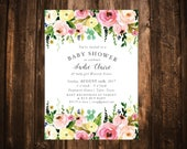 Garden Floral Baby Shower Invitation; Watercolor; Printable or set of 10