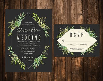 Slate Succulent Garden Wedding Invitations; Greenery; Foliage; Printable OR set of 25
