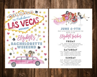 Las Vegas Bachelorette Party Invitation; Watercolor; Itinerary; Printable or set of 10
