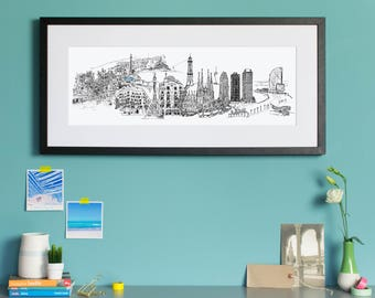 Barcelona Skyline, Barcelona Spain Cityscape Art Print, Cityscape, City Art, City poster, Barcelona Spain Illustration, Travel gift,