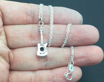 Classical Guitar  Necklace -  Sterling silver Necklace, music instrument necklace, music necklace