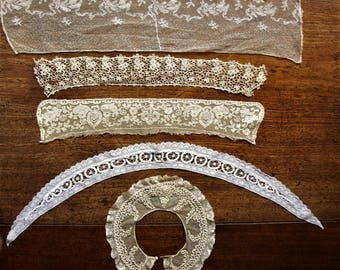 Lot of 5 Edwardian lace collars, such different designs, wonderful laces