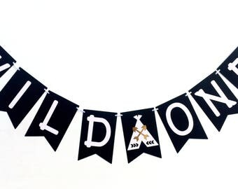Wild One Black and White Teepee banner. Monochrome bunting, garland. Photo Prop, First Birthday party, baby shower, wilderness, tribal, boho