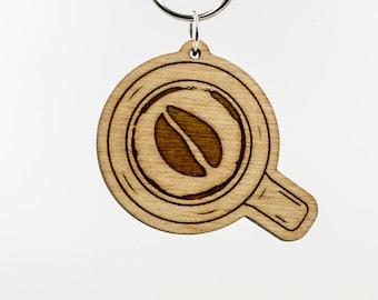Coffee Bean Keychain - Latte Art Keychain - Coffee Bean Keyring - Coffee Gift - Cup of Coffee - Espresso Bean - Barista - Coffee Charm