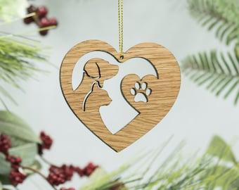 Pet Heart Christmas Wood Ornament - Dog & Cat Silhouette Ornament - Dog Heart - Cat Heart - Paw Print Laser Cut Wood Ornament - Best Friends
