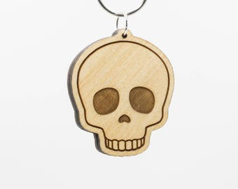 Skull Emoji Wooden Keychain - Skull Face Emoji Wood Key Ring - Human Skull Emoji - Hungover Emoji - Died Laughing Emoji - Spooky Scary Emoji