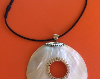 Mother of Pearl Pendant Sterling Silver Handmade