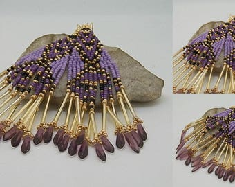 Purple, black and gold woven earrings