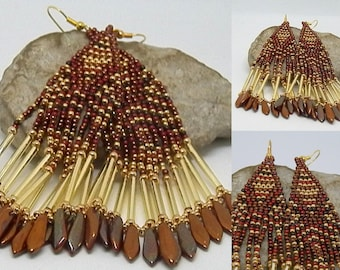 Earrings woven Burgundy, chocolate, copper and gold