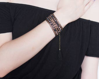 Black and bronze seed beads woven bracelet *.