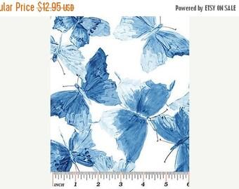 Summer Sale- Butterflies Blue~ by Benartex~Cotton Fabric, Quilt, Home Decor~Fast Shipping,N395