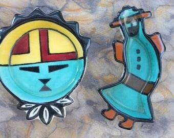 Vintage Hopi Kachina Motiff Nut Bowls