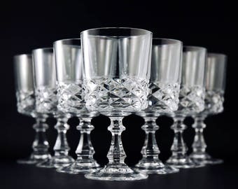 seven vintage crystal wine glasses cristal durand diamond pattern set