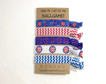 Chicago Cubs Hair Ties - Chicago Baseball - Red and Blue Baseball Hair Ties - Chicago Cubs Elastic - Toddler - Child - Teen - Adult