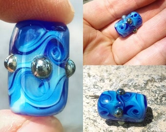 Blue Swirl with Silver Bumps Focal Bead / Handmade Glass,  Lampwork