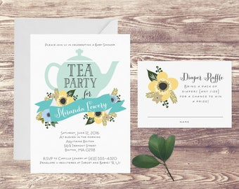 Tea Party Baby Shower Invitation with Diaper Raffle Card, Floral Baby Shower Invite, Baby Sprinkle, Couples Baby Shower Invitation