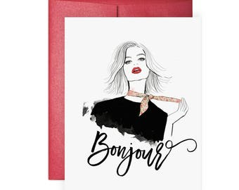 Bonjour - Greeting Card, Fashion Illustration, Friendship Card, Hello Card, Just Because Card, Fashion, Style, Scarf