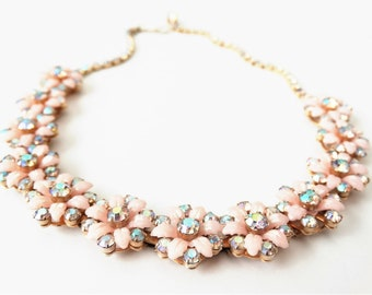 1950s Pink Plastic and Aurora Borealis Rhinestone Flower Necklace