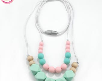 BPA free Teething Necklace/ DIY Silicone Teething/ Baby Nursing Necklace, Silicone Teething Necklace for mom,Baby Teething Jewelry
