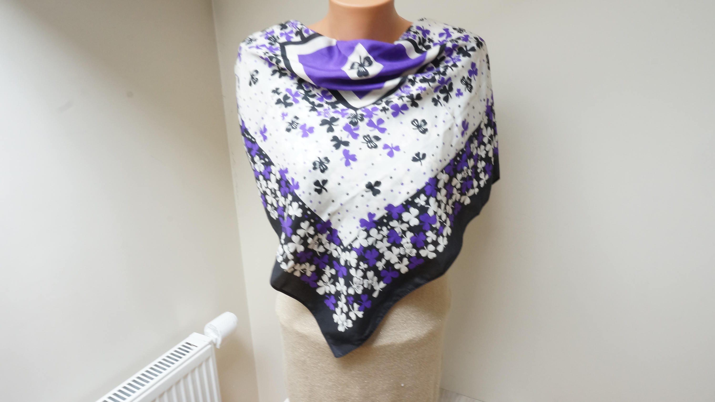 shamrock print scarf shawl large silk flower floral print made in