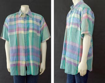 Vintage Men's Pastel Dress Shirt, 70s Short Sleeve Button Up Shirt, Size Extra Large, Britches Brand, Pastel Plaid Shirt, Men's Summer Shirt