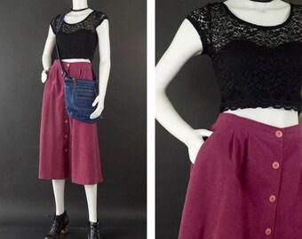 Vintage Rose Blush Velour Midi Skirt, High Waisted Midi Skirt, 80s Skirt Pockets, Button Front Midi, Long Velvet Skirt, Women's Size 12