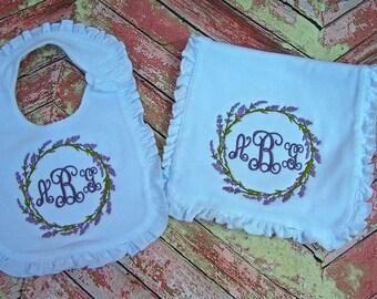 Baby Bib, Burp Cloth, Monogrammed Bib, Monogrammed Burp Cloth, Baby Gift, Baby Shower Gift, Personalized Baby Gift, Baby Girl Gift.