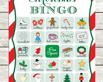 Christmas Bingo cards, 20 unique game cards, Printable Instant download!