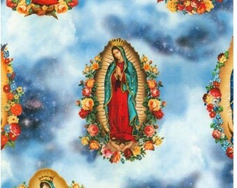Virgin of Guadalupe fabric by Robert Kaufman from Inner Faith, blue sky background