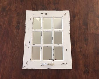 Window mirror, rustic, distressed light soft warm white, 9 panel