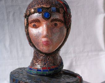 Summer Sale Snake-Lady-Mosaic-Art-Head-Sculpture-One-of-a-Kind-Great-in-your-home - HE100