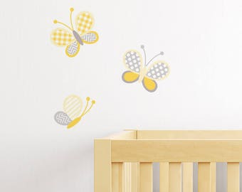 Yellow Butterfly Decals - Wall Stickers - Wall Decoration - Wall Art - Wall Tattoo - Home decor - Wall Decor - Nursery Decor