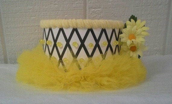 Yellow Themed Baby Shower ~ Bumble bee gender reveal diaper cake bundle yellow and black bee