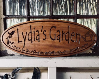 Personalized Sign, custom Wooden Carved sign, Last Name Sign, Gardening gift, Welcome Sign, New Home gift, Greenhouse she shed Signs