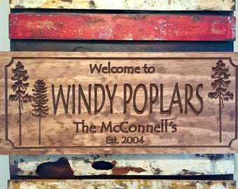 Rustic Cabin Welcome Signs Pine Tree Pine longleaf pines conifer tree forest wood carved Sign Wooden Carved Cabin Plaque Benchmark Signs