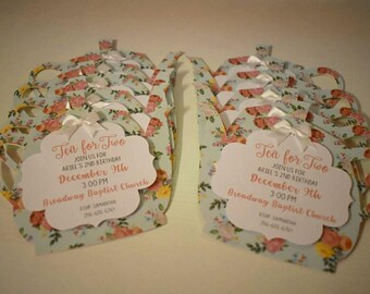 Tea Party Birthday Invitations For Two Teapot Set