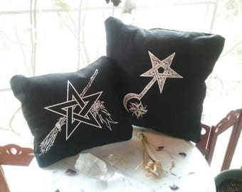 Witch Charms & Witch Blade Patch Pillows ~ Wort Magic ~ WitchingVeil ~ RedSisterWychery ~ Occult ~ Pagan Goth~ Herb Witchery